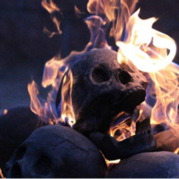 skull head log on fire