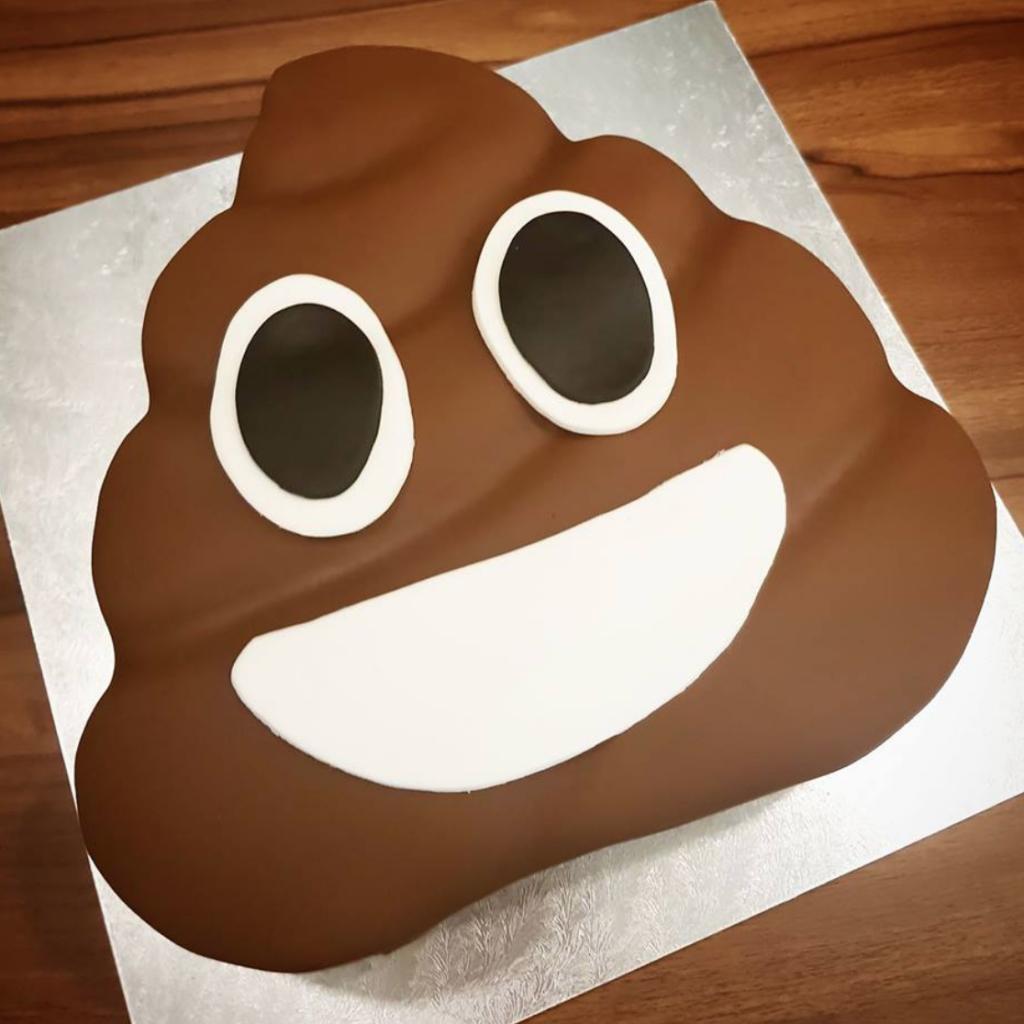 funny poop emoji shaped cake