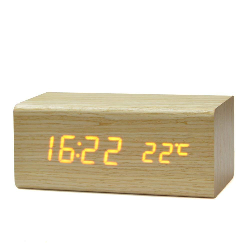 solid wood digital alarm clock
