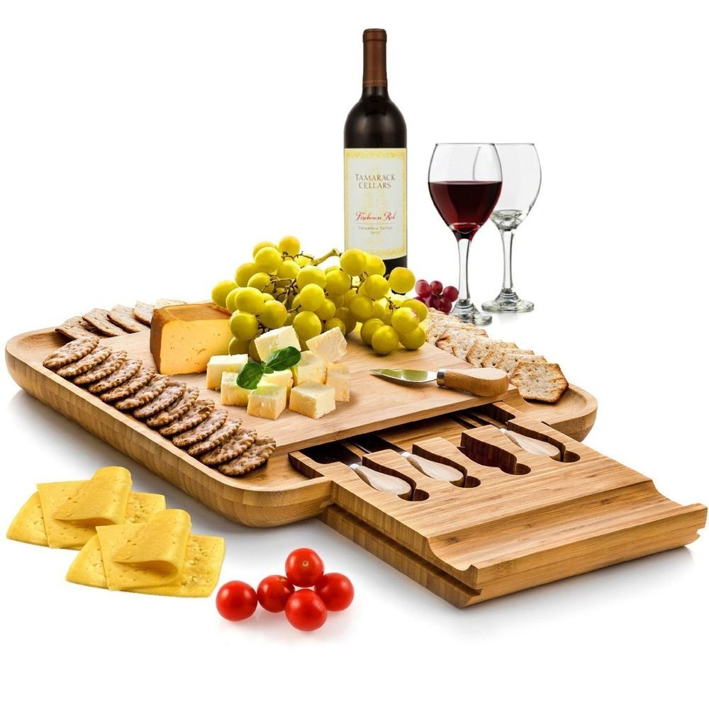 bamboo cheese and charcuterie board with knife set
