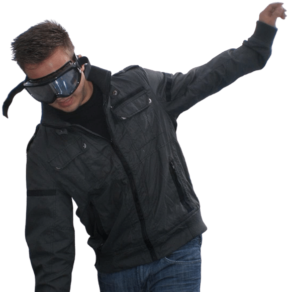 man with drunk goggles