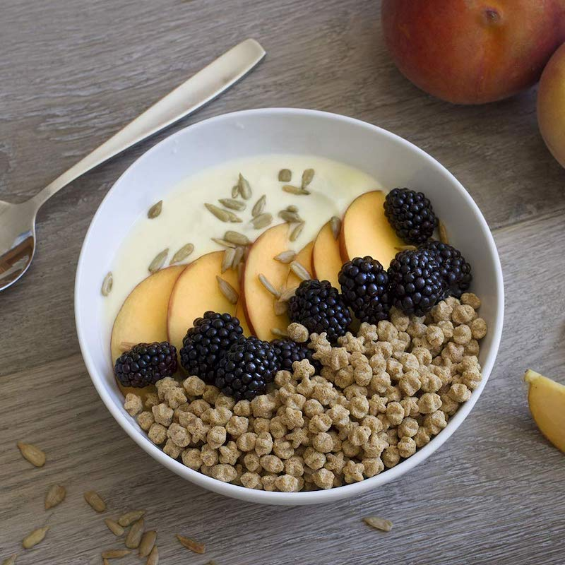 fruit and milk in fiber rich cereal