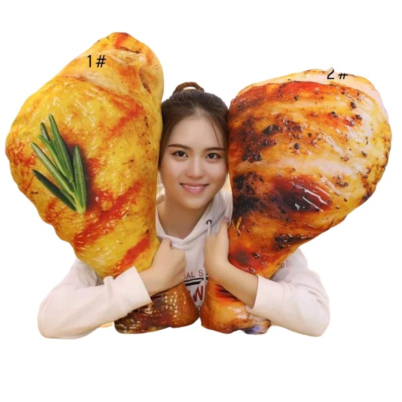 girl with two fried chicken pillows
