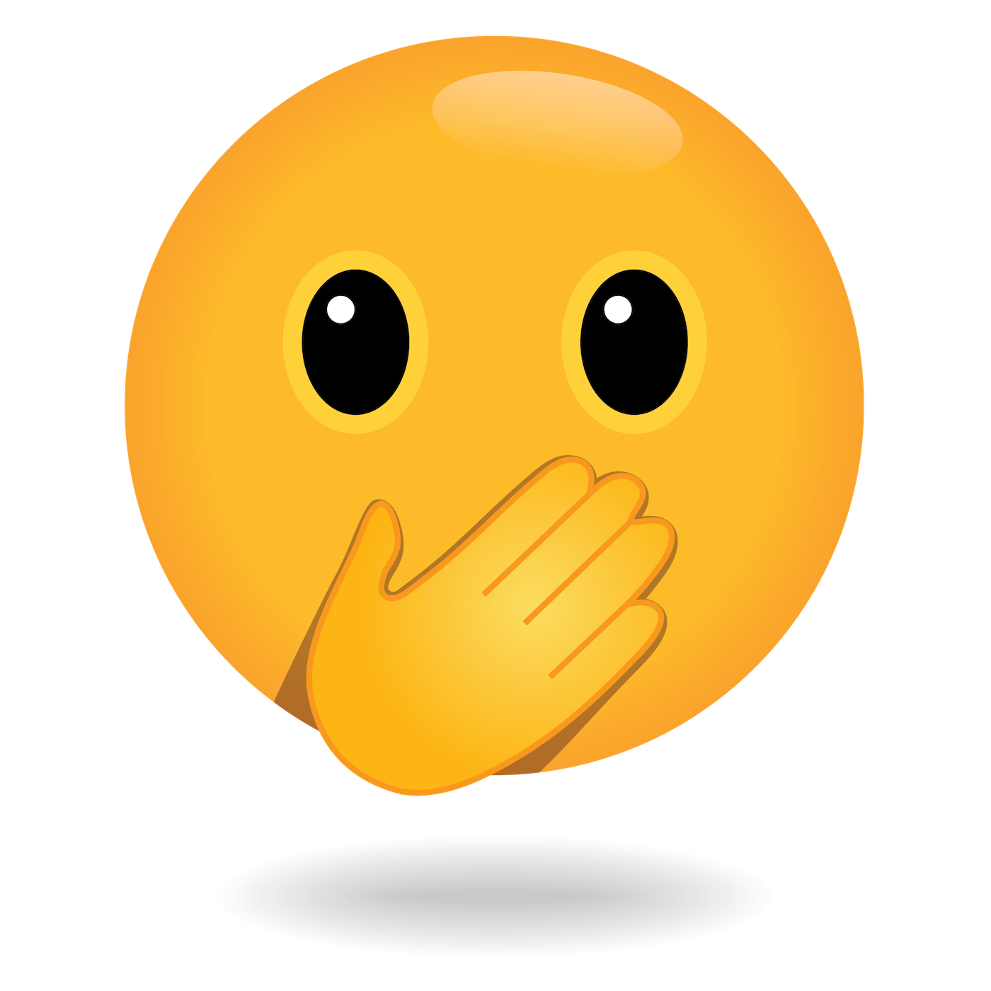 define awesome emoji hand over face