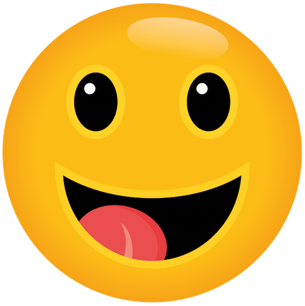 Emoji smiling with mouth open and tongue showing