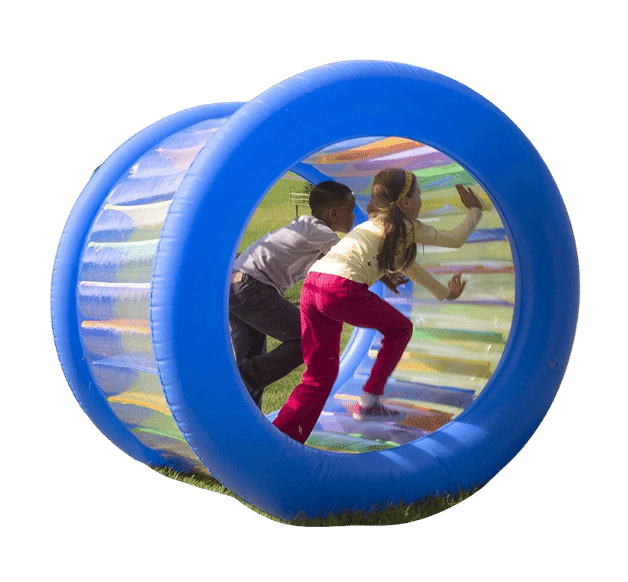 two kids in an inflatable hamster wheel