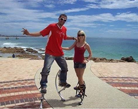 couple with kangaroo stilts