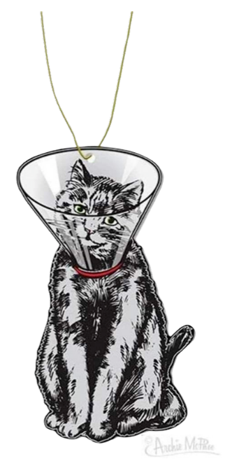the air freshener that's a cat with a cone on it's head