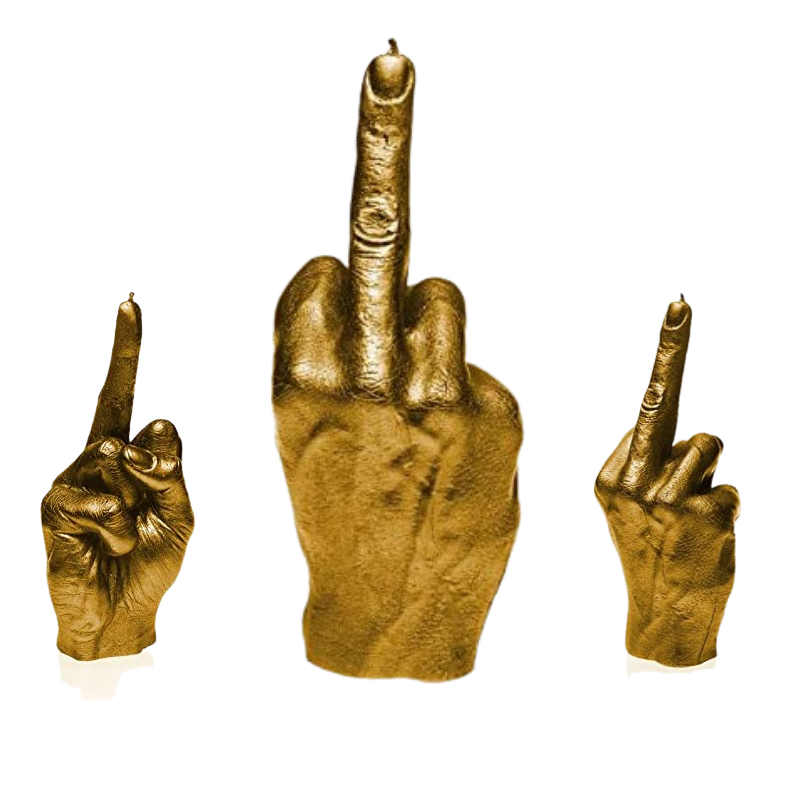 golden middle finger candle