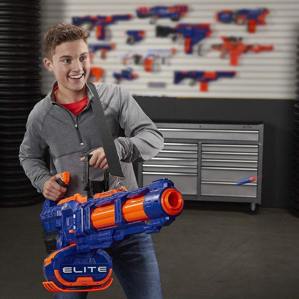 nerf minigun shooting nerf darts