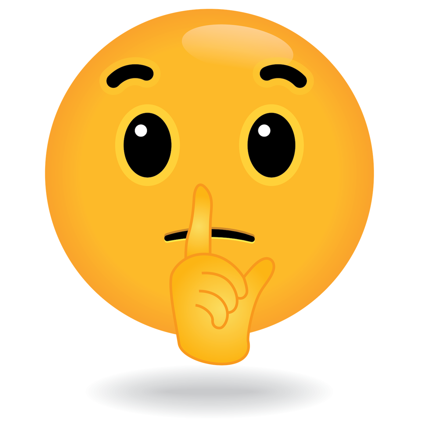 define awesome shhh quiet emoji