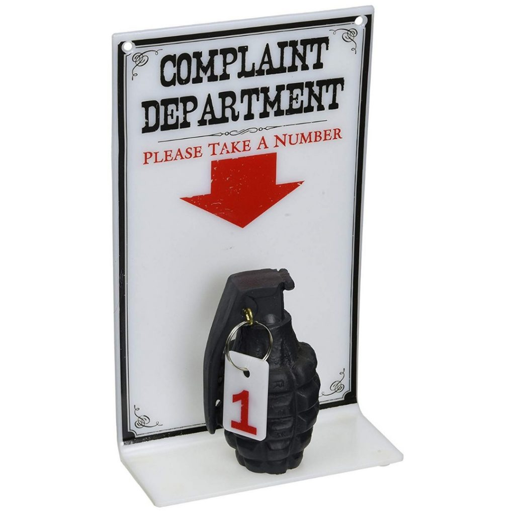 The Complaint Department Grenade Sign