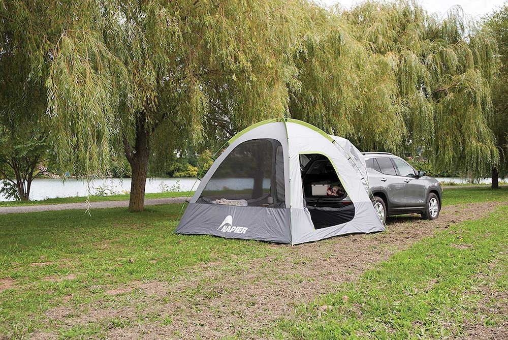 camping with an SUV tent