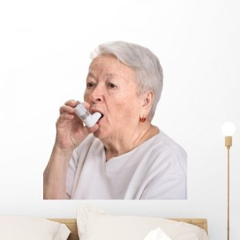 woman with inhaler wall sticker